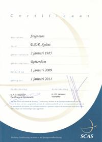 SCAS Certificaat